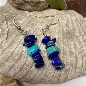 Genuine lapis stacks earring turquoise chip NF